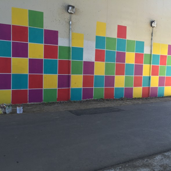 Colored Grid Mural