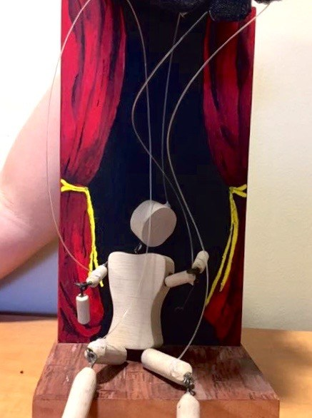 puppet, wood, hand, string