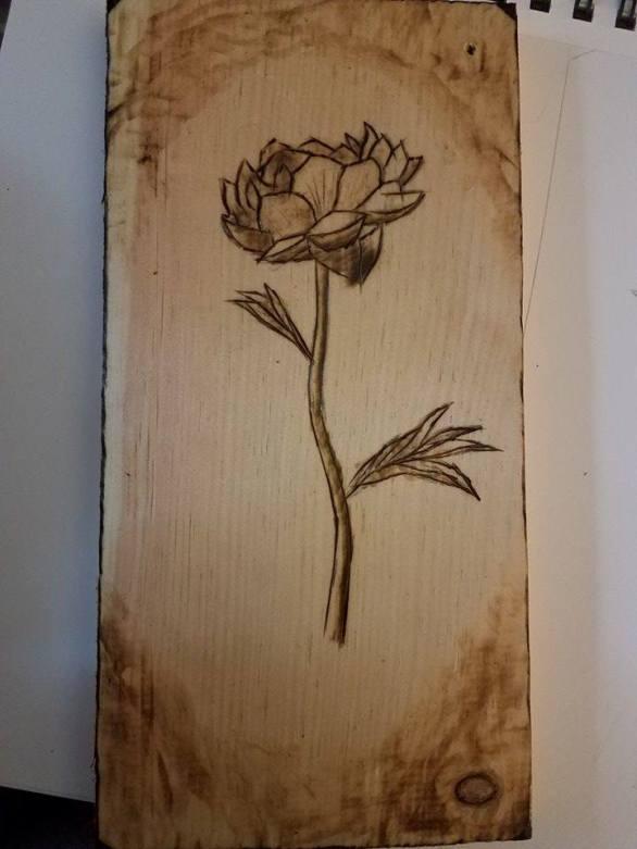 flower wood-burn