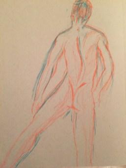 Orange back side of a man
