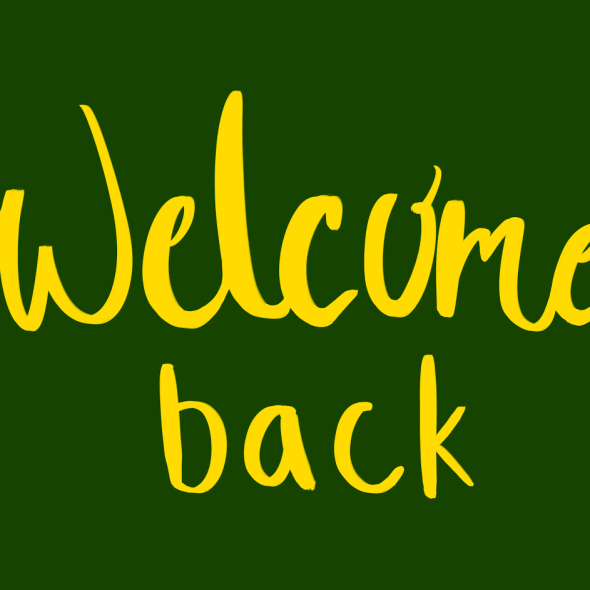 Welcome back lettering