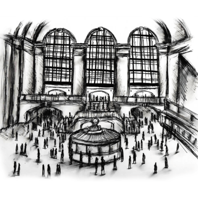 sketch of a train station