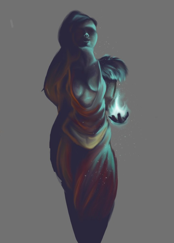 digital painting of a mythical figure with no background
