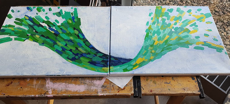 Left and right paintings put together to create a wave of green blue and yellow