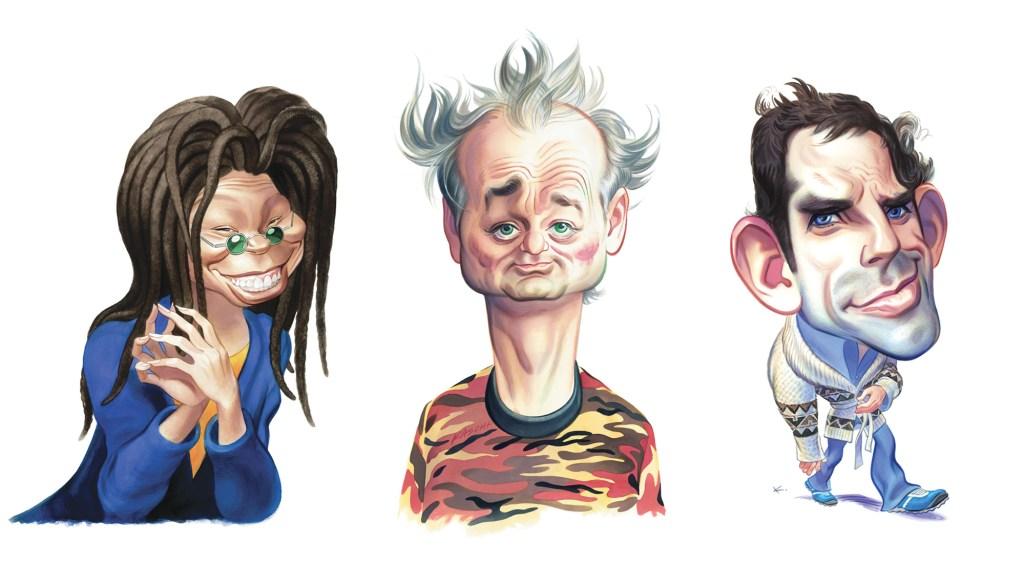 Whoopi Goldberg, Bill Murray and Ben Stiller, watercolor India ink