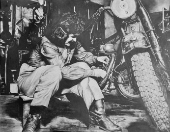 girl fixing bike