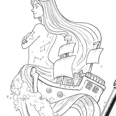 sea goddess drawing