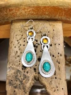 Sibio, Citrine/Amazonite Earrings