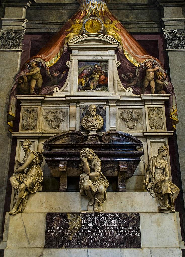 Michelangelo's tomb, Basilica of Santa Croce, Florence.