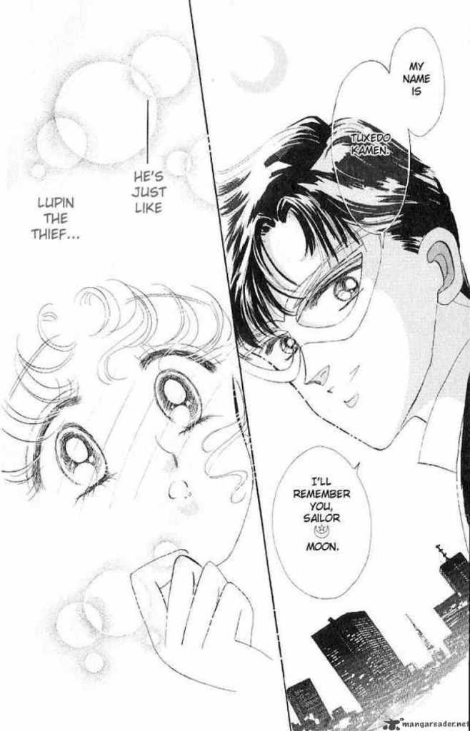 Tuxedo Mask talking to Sailor Moon