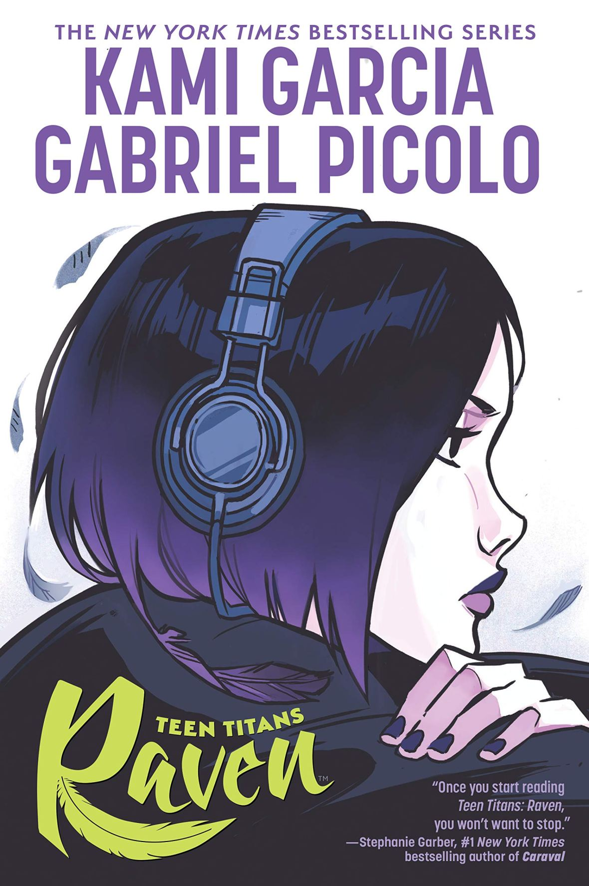 Girl with Purple Hair Wearing Headphones