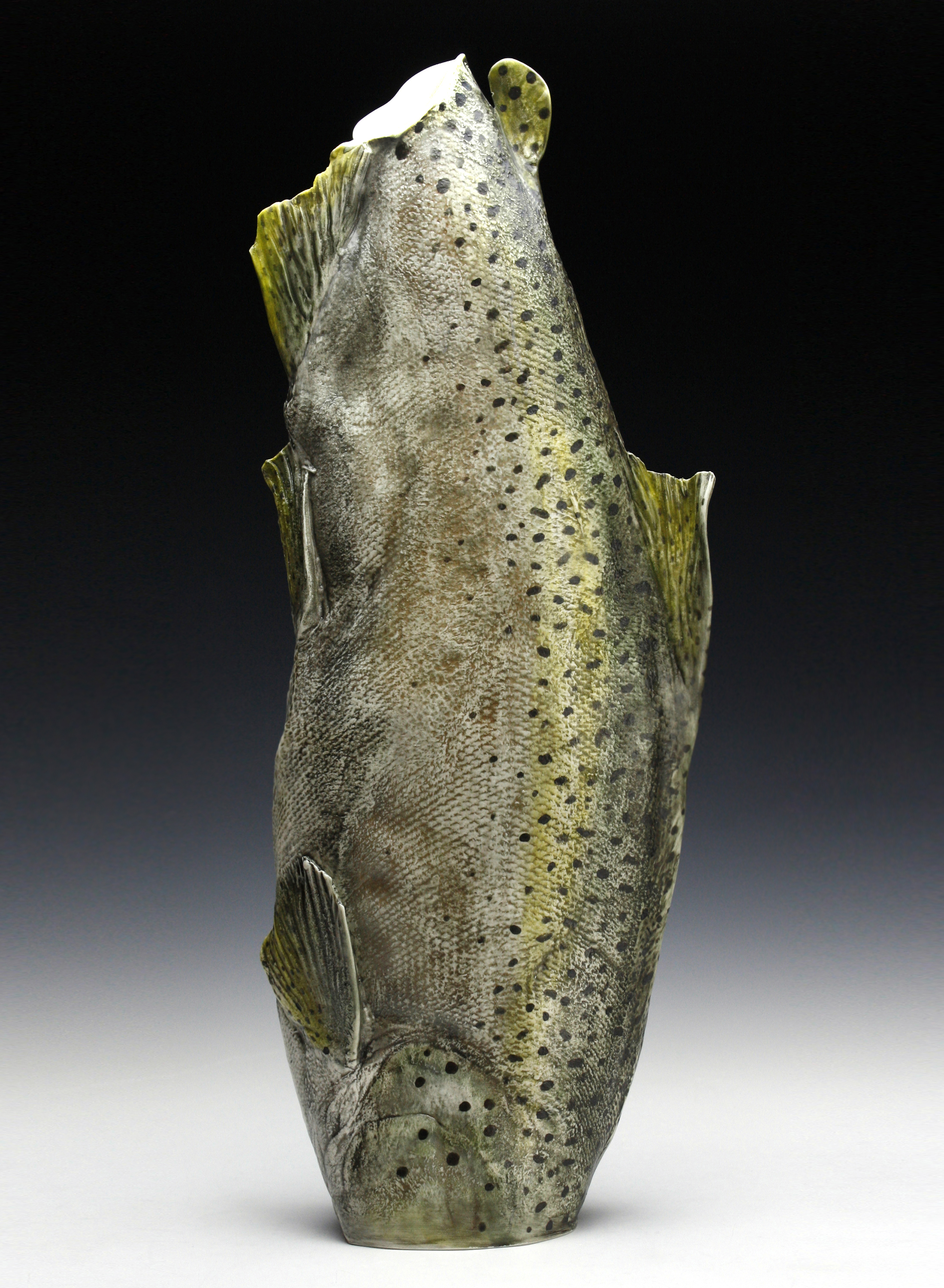 """Diving Trout"" Porcelain 24"" in Height"