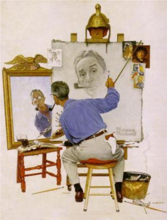 Illustration of a man drawing a self portrait of himself