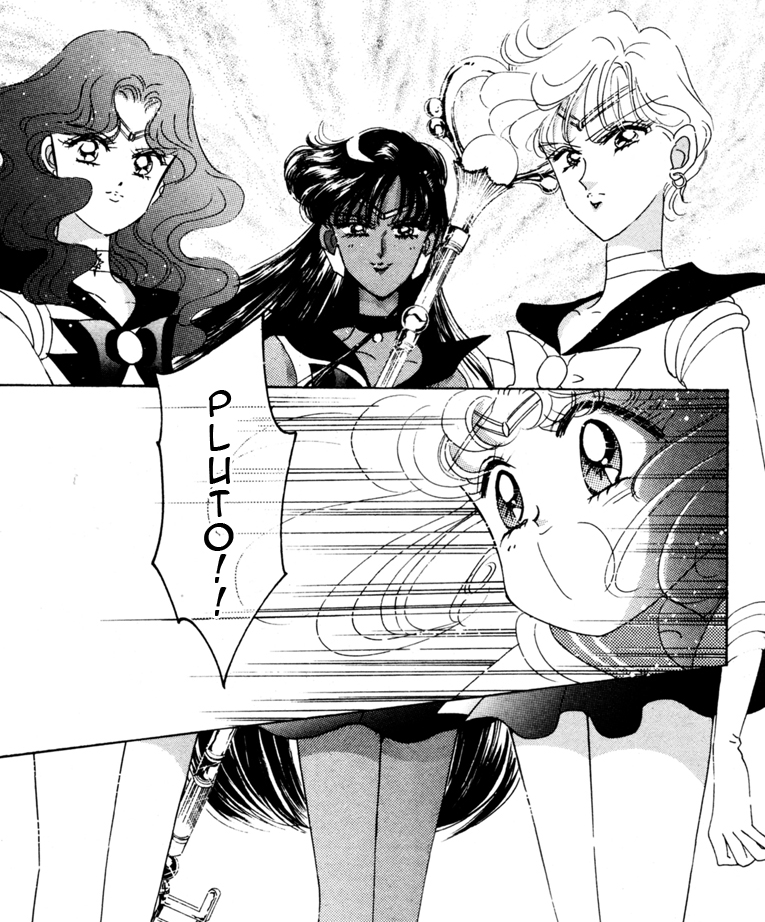 Neptune, Pluto and Uranus talking to Sailor Moon