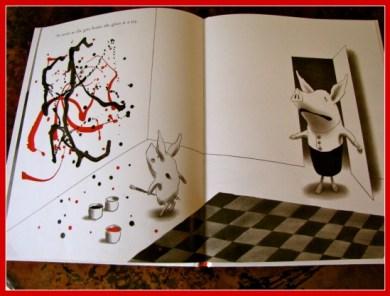Olivia the pig creates a Pollock