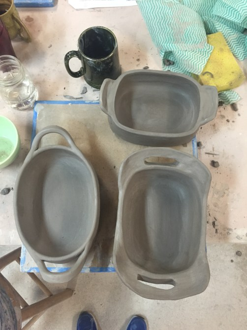 loaf pans that haven't been fired yet