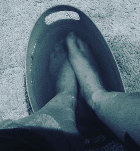 foot soaking in Epsom Salts