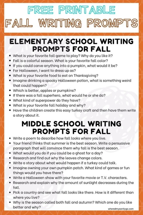 small resolution of 20 Fall Writing Prompts for Kids Elementary and Middle School Journals