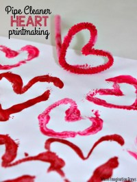 Valentine's Day Printmaking Craft with Pipe Cleaners ...