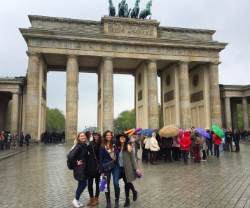 At the Brandenburg Gate with Keara, Karlie and Erica