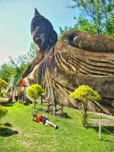 nina in laos with buddha