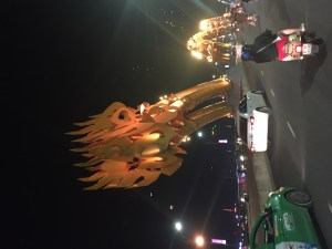 Famous Dragon Bridge in Danang. Fire and water shoot out of its mouth on the weekend.