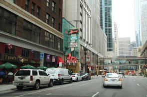 Downtown and its many pedestrian bridges between buildings