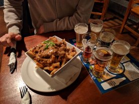 Poutine and beer tasting