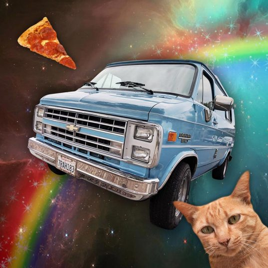 A picture I did to advertise Sully (comfy for a grumpy cat and with an oven to make pizza)