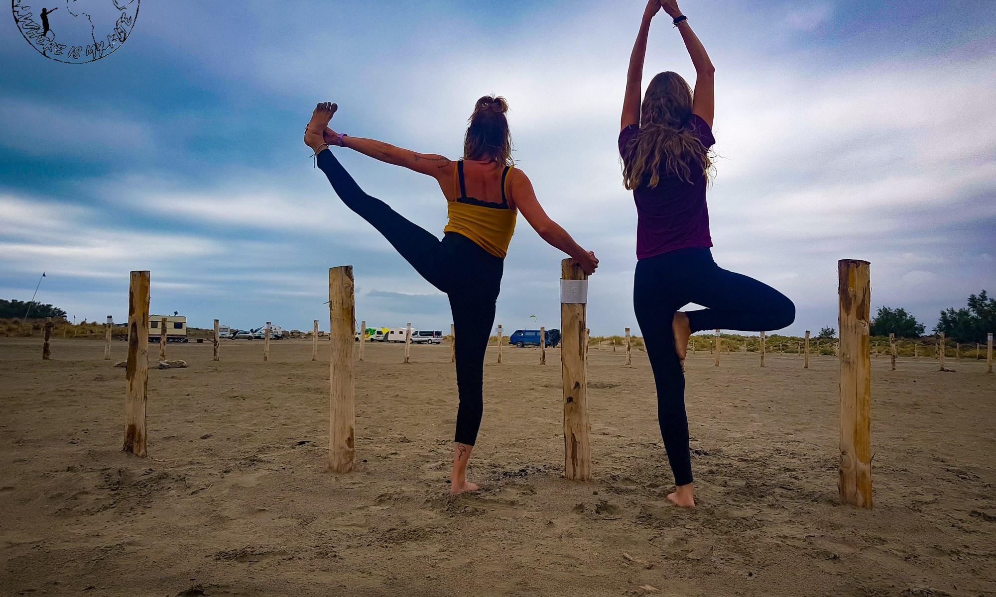Stretching plage de Beauduc ou comment bien commencer sa session