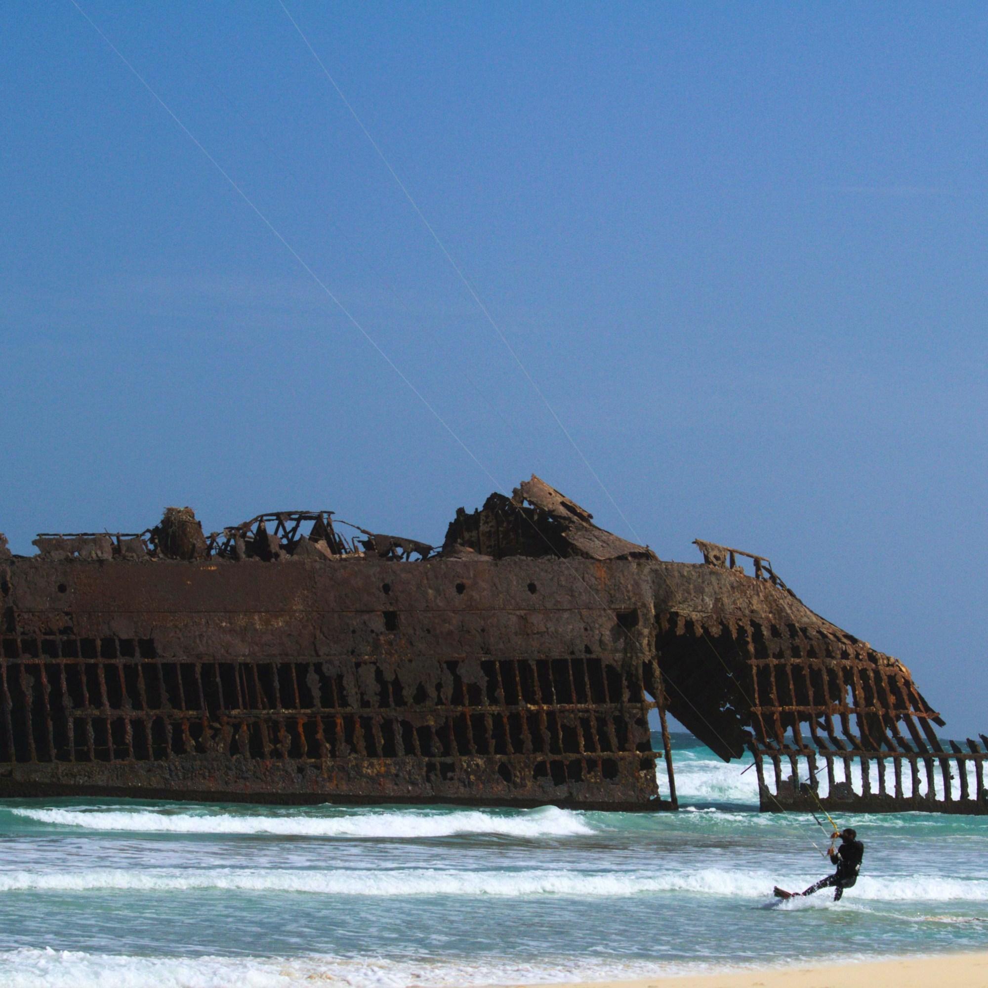 Praia da Atalanta, épave de bateau, Boa Vista, Cap Vert