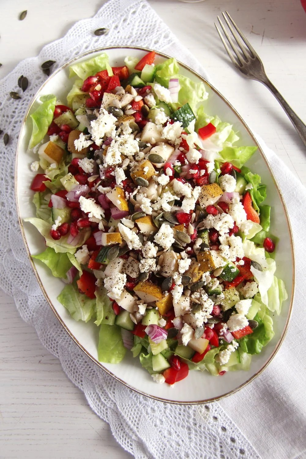 salad pomegranate feta Autumn Salad with Apples, Pears and Seeds