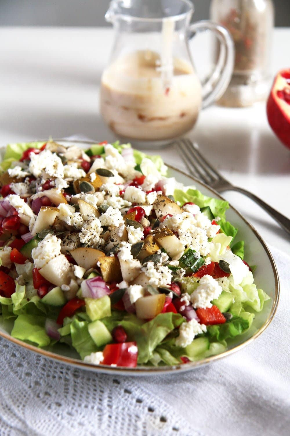 salad pomegranate Autumn Salad with Apples, Pears and Seeds