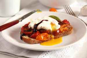 %name Roasted Tomatoes and Poached Eggs on Garlic Sourdough Toast