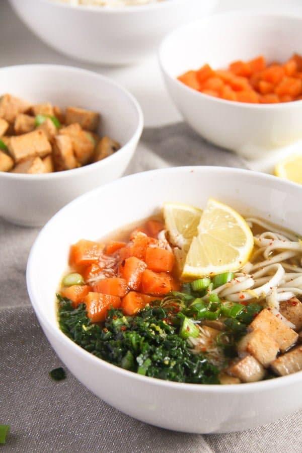 tofu noodles soup 5 Soba Noodles Tofu Soup with Limes, Carrots and Kale