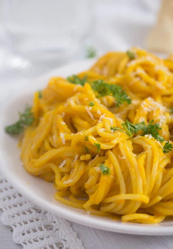 pumpkin sauce for pasta 11 Creamy Pumpkin Pasta Sauce with Parmesan and Parsley