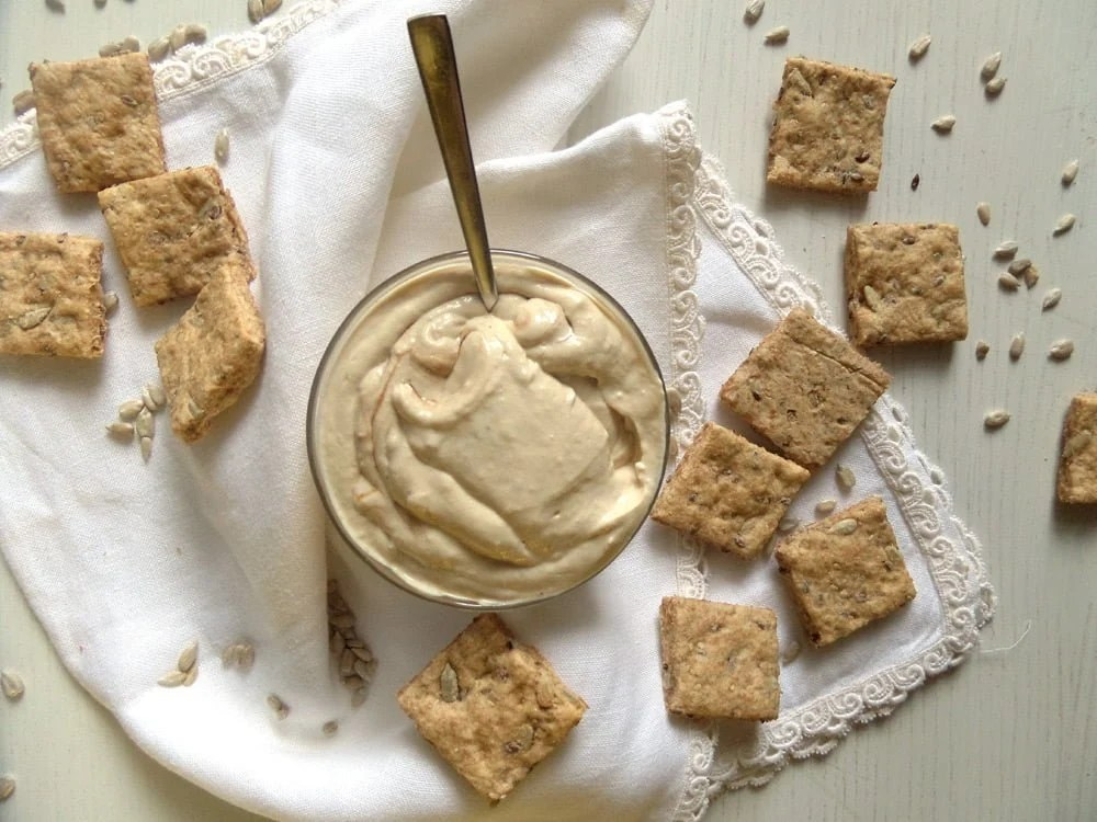 tofu spread dip vegan Silken Tofu Tahini Spread with Wholegrain Spelt Crackers