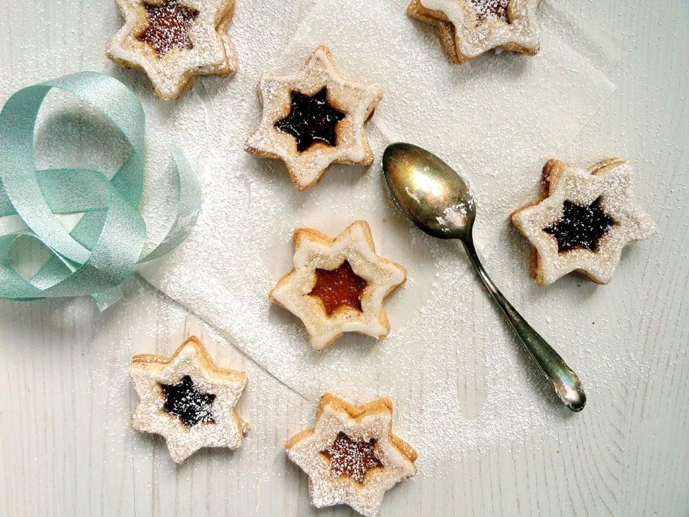 star cookies Spitzbuben   German Star Shaped Almond Jam Cookies