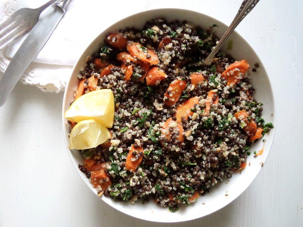 lentil quinoa salad Vegan Lentil Quinoa Bowl with Kale, Carrots and Sunflower Seeds