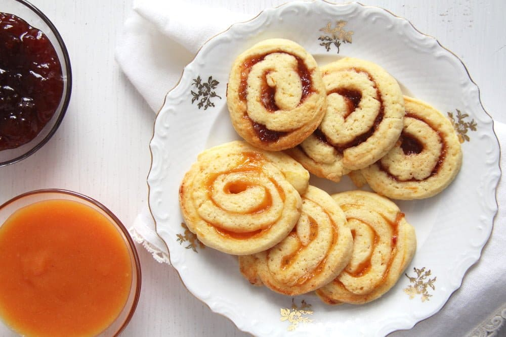 orange swirls Orange and Jam Swirl Butter Cookies