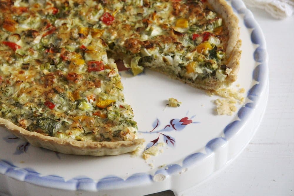 quiche green onions Green Onion and Cheese Quiche with Peppers and Dill