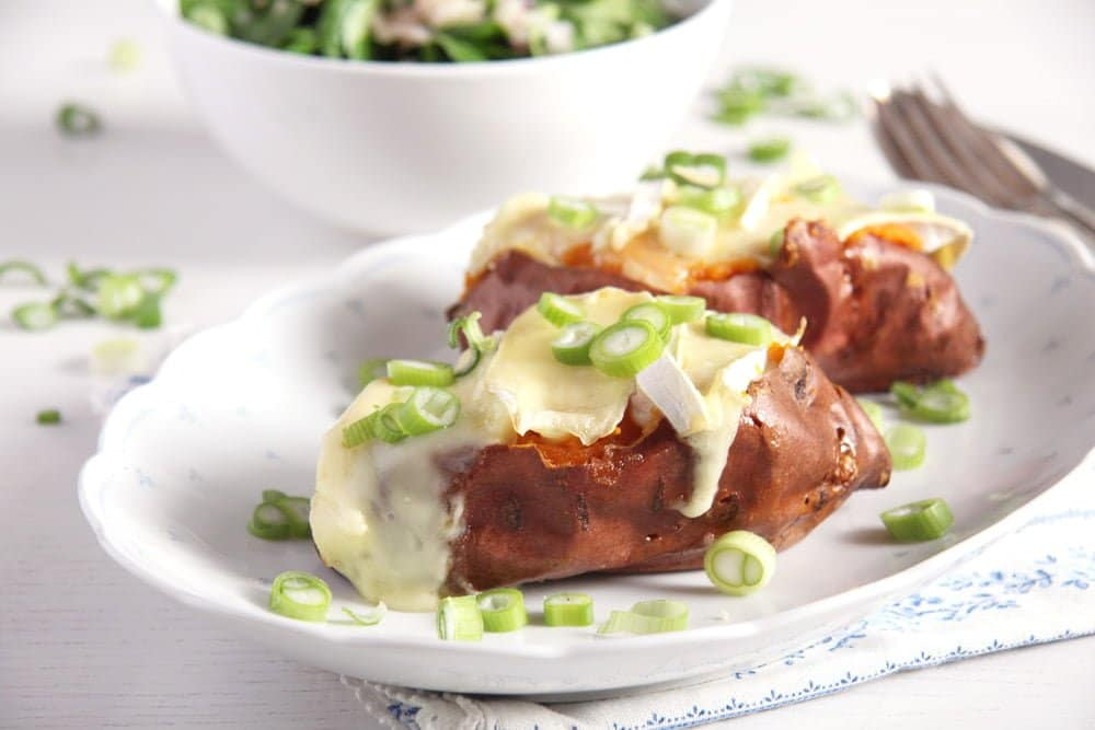 sweet potatoes baked Baked Sweet Potatoes with Camembert and Green Onions