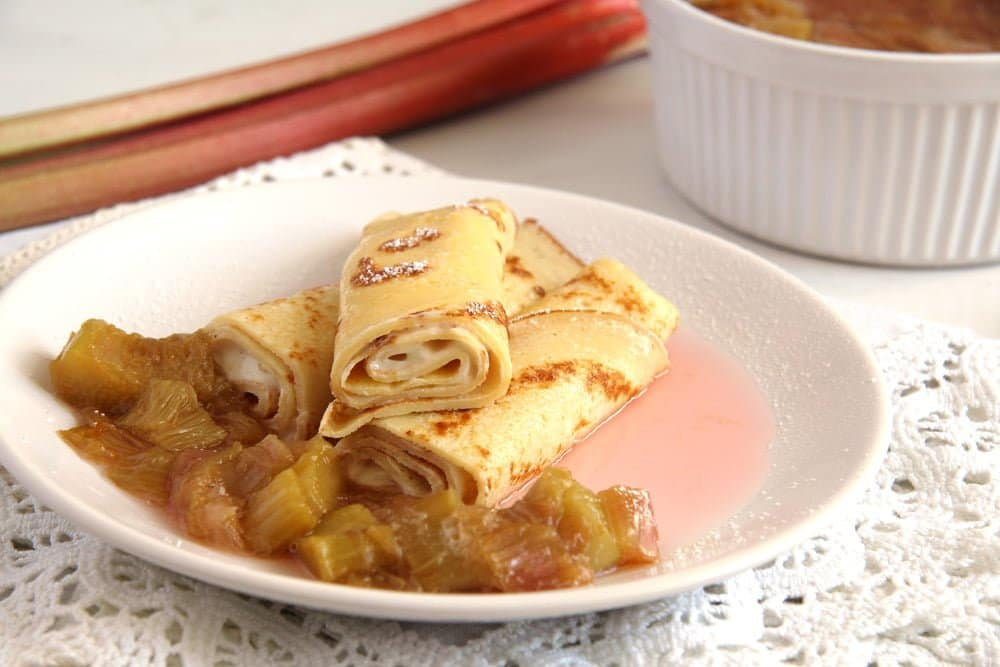 Crepes with Rhubarb Compote