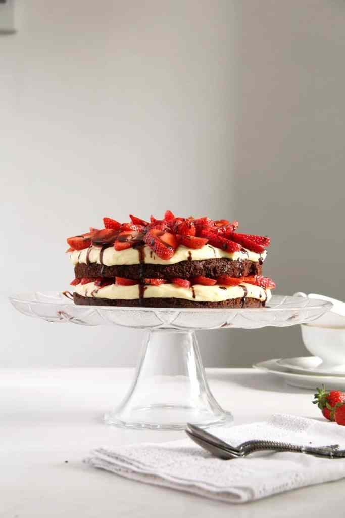 brownie cake strawberries 683x1024 Brownie Strawberry Torte with Condensed Milk Filling
