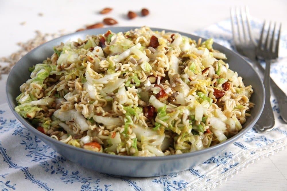 Ramen Napa Cabbage Salad with Sunflower Seeds and Almonds