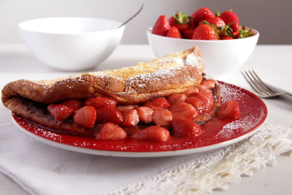 strawberry pancakes Fluffy Oven Pancakes with Strawberry Honey Sauce