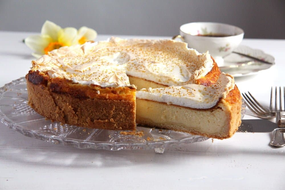 German Cheesecake with Low-Fat Quark and Meringue Topping
