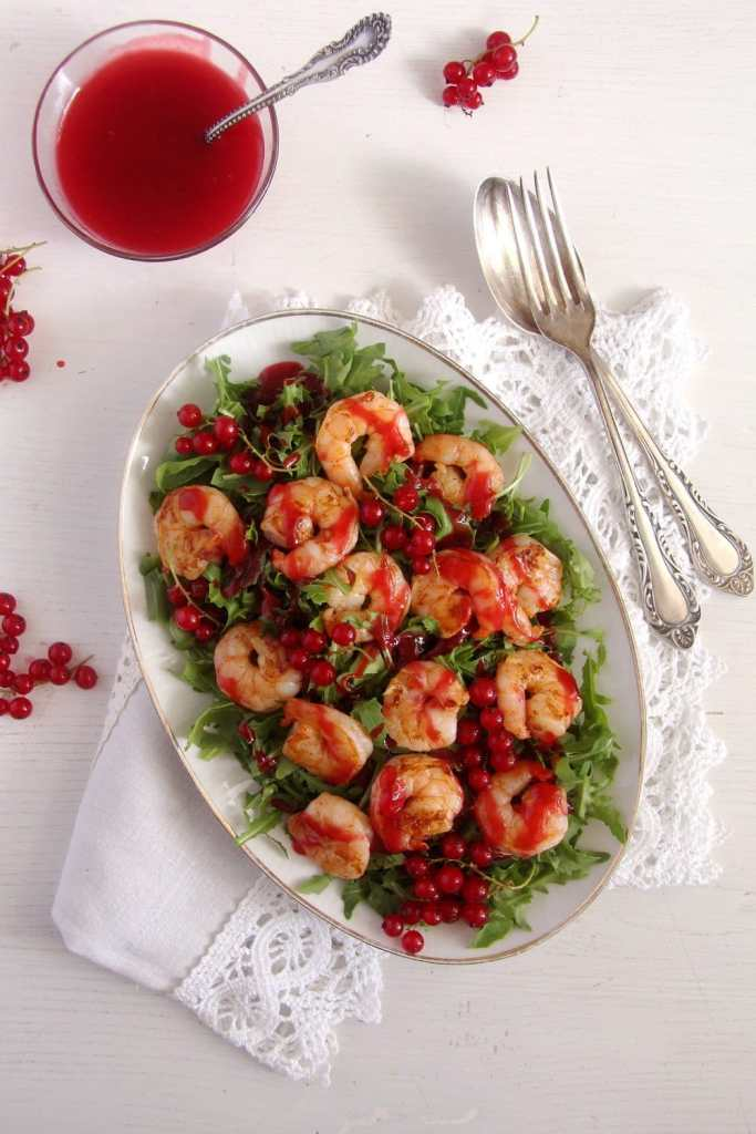 red currant salad 683x1024 Tiger Prawns with Red Currant Sauce and Rocket