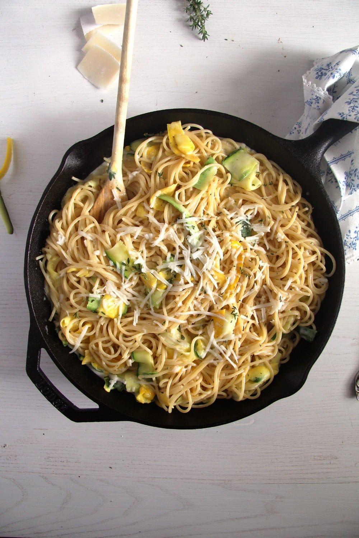 spaghetti zucchini goat che Spaghetti with Zucchini and Creamy Goat Cheese Sauce