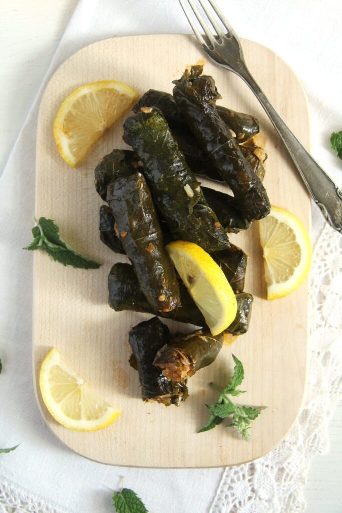 grape leaves syrian 683x1024 Syrian Stuffed Vine Leaves with Rice, Garlic and Herbs